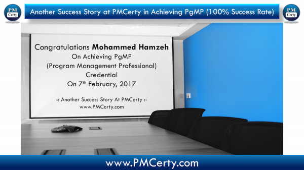 Congratulations Mohammed on Achieving PgMP..!