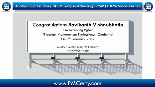 Congratulations Ravikanth on Achieving PgMP..!