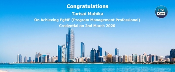 Congratulations Tarisai on Achieving PgMP..!