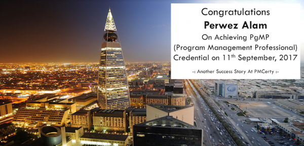 Congratulations Perwez on Achieving PgMP..!