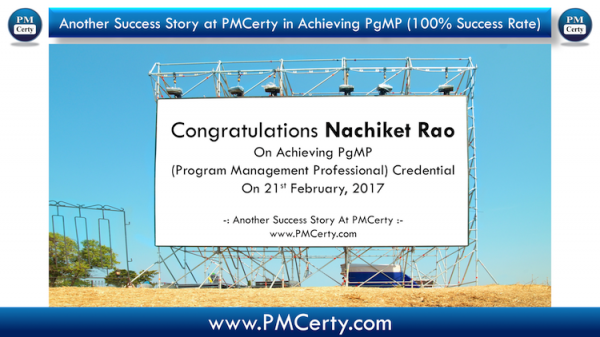 Congratulations Nachiket on Achieving PgMP..!