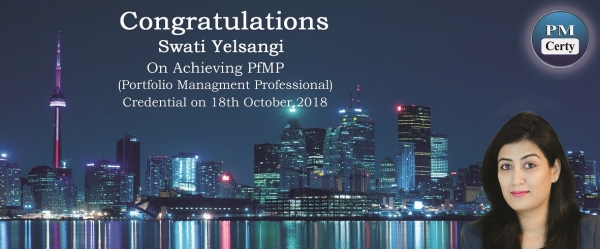 Congratulations Swati on Achieving PfMP..!