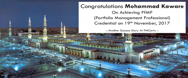 Congratulations Mohammad on Achieving PfMP..!