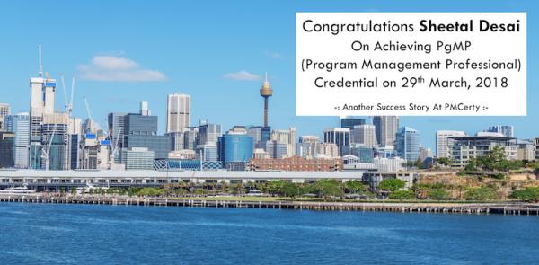 Congratulations Sheetal on Achieving PgMP..!
