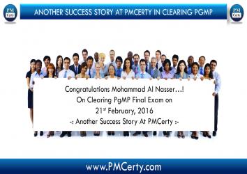 Congratulations Mohammad Al Nasser On Achieving PgMP..!