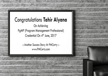 Congratulations Tahir on Achieving PgMP..!