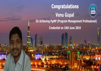 Congratulations Venu On Achieving PgMP..!