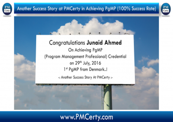 Congratulations Junaid On Becoming 1st PgMP in Denmark..!